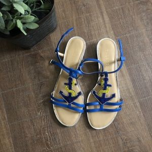 NWT Talbots Cobalt Daisy Anchor Sandals